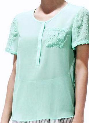 Reiss мятная комбинированная блуза