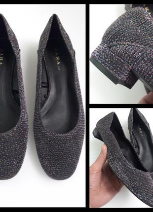 Туфли балетки от zara из люрекса с метализированной нитью