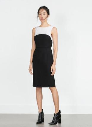 Платье футляр черно-белое zara