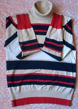 Мягенький коттоновый свитер в яркую полоску от oodji