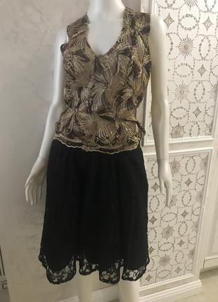 Чёрная, нарядная,кружевная юбка h&m