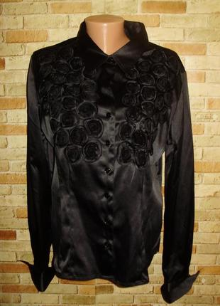 Нарядная стрейч атласная блуза с розами дорогого бренда gerard 16/50-52 размера