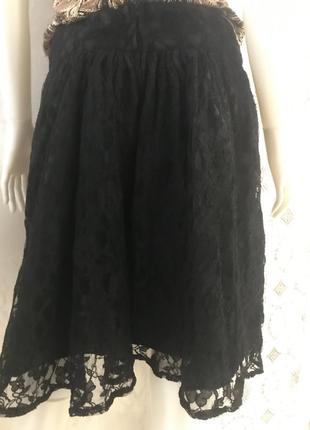 Чёрная, нарядная, кружевная юбка h&m