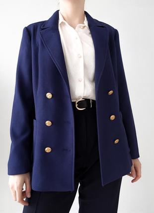 Шикарный двубортный пиджак с золотой фурнитурой h&m