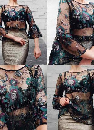 Вечерняя нейлоновая блуза сетка с вышивкой и пайетками next