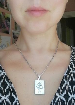 Кулон # подвеска серебряная б/у # срібна підвіска  деревце лот 282