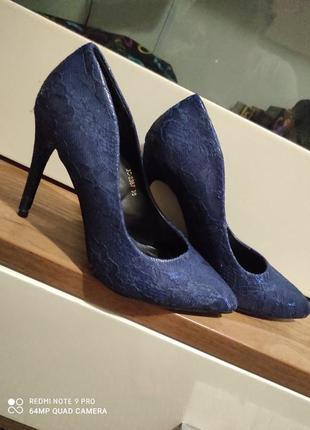 Туфли лолочки синие лаковые гипюр новые