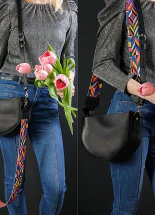 Кожаная женская сумка с двумя ремешками из натуральной винтажной кожи черная