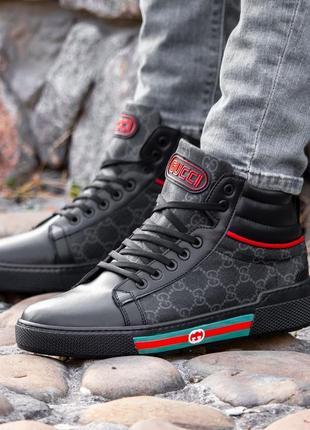 7594 gucci black ботинки кроссовки гучи кожанные