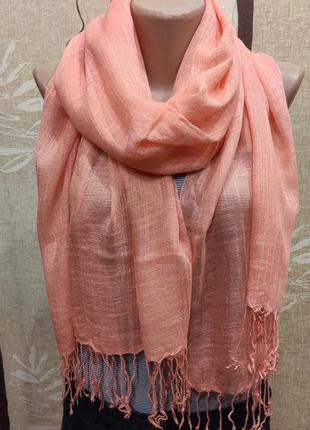 Большой тонкий палантин, шарф персикового цвета