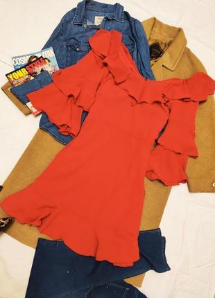 Платье красное новое свободное оверсайз многослойное by very