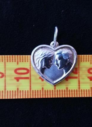 Кулон сердце # подвеска серебряная б/у # срібна підвіска серце лот 286