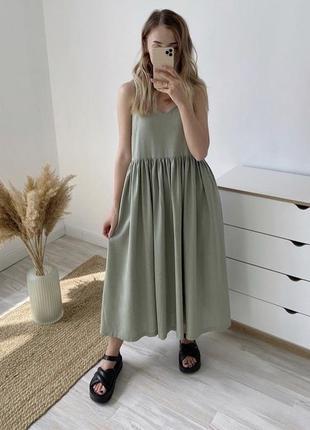 Платье миди фисташковое