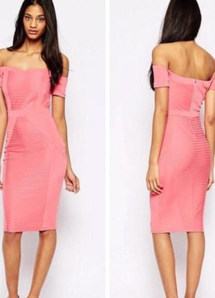 Asos рожева бандажна моделююча сукня