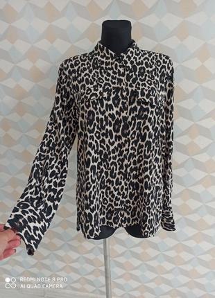 Стильная блузка в тигровый принт,удлиненная рубашка