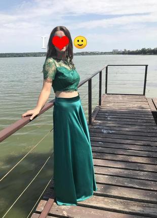 Вечерние платье, атлас с кружевом
