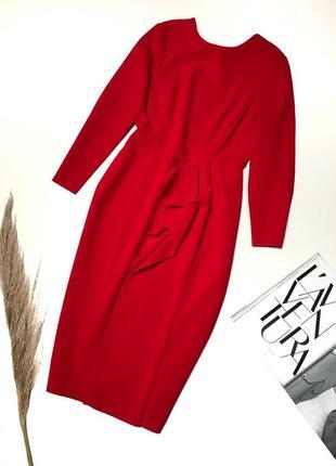 Красное платье миди от h&m