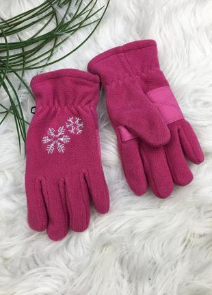 Розовые флисовые перчатки для лыж и не только