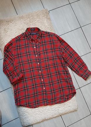 Винтажная красная фланелевая теплая рубашка в клетку, britches