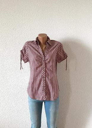 Брендовая рубашка в клетку biaggini с короткими рукавами