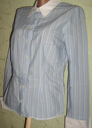 Рубашка, в полоску, белый воротник, манжеты.приталеная-р.12- new look