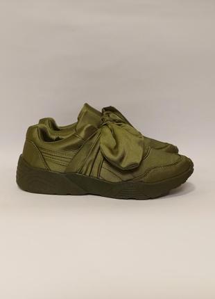Зеленые оливковые кроссовки женские текстиль бант бантик