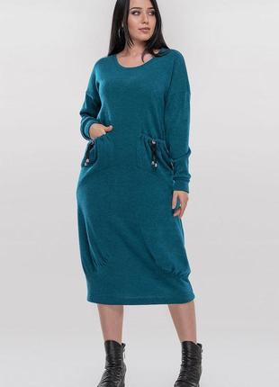 Стильное теплое дизайнерское платье в стиле оверсайз,свободный крой