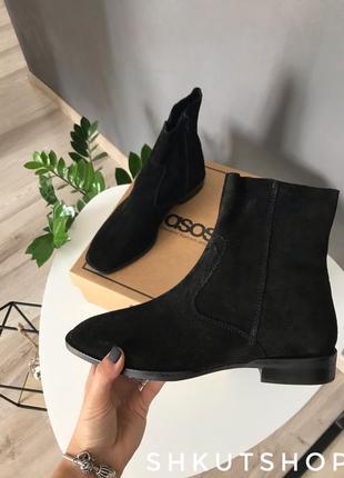 Ботинки asos черевыки челси замшевые черные