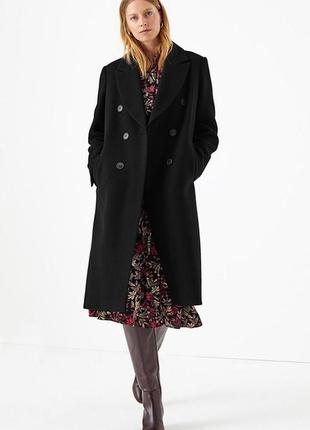 Шерстяное двубортное пальто marks&spencer, m&s, 8