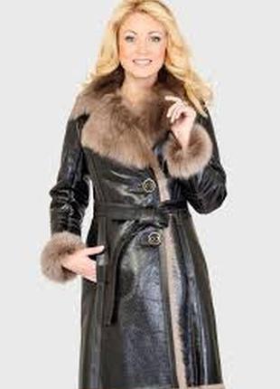 Дубленка кожаное пальто италия р с-м-л