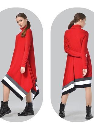 Платье туника теплое трикотажное ассиметрия agata webers р.46-48 укр.