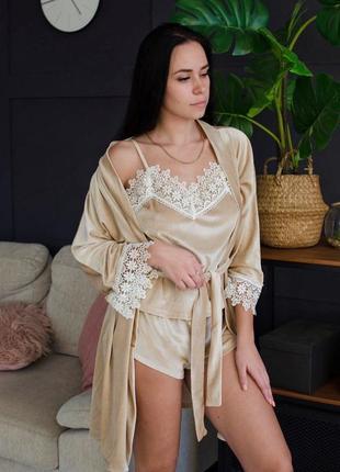 Бархатный  набор ( пижама + халат)