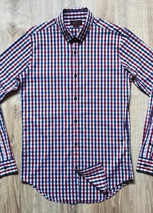 Мужская стрейчевая рубашка с длинным рукавом в клетку zara man basic superslim fit
