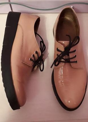 Туфли натуральный лак пудровые