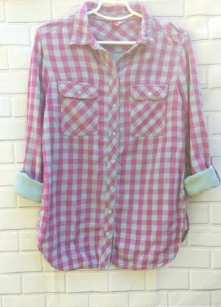 Хлопковая, двойная рубашка в клетку divided h&m  /арт.06