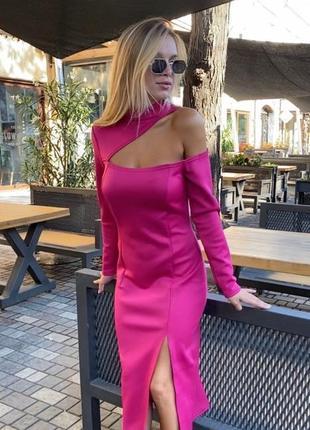 Яркое розовое платье асимметрия фуксия миди сукня плаття міді рожеве фуксія