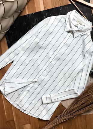 Біла сорочка в полоску смужку бойфренд классическая рубашка полосатая белая