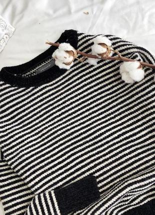 Плюшевый вельветовый вязаный свитер в полоску синель кофта свитер из синели