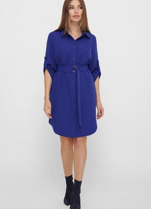 Модное платье - рубашка королевского цвета
