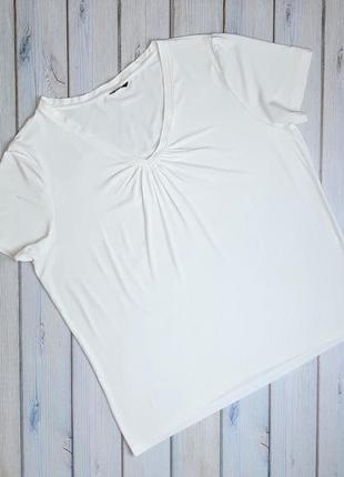 💥1+1=3 базовая молочная женская футболка m&co, размер 52 - 54