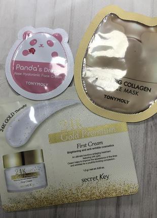 Набор маска и крем tonymoly крем 24k secret key корея