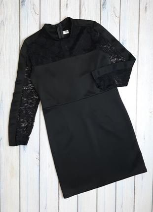 💥1+1=3 красивое черное платье с кружевом, размер 44 - 46