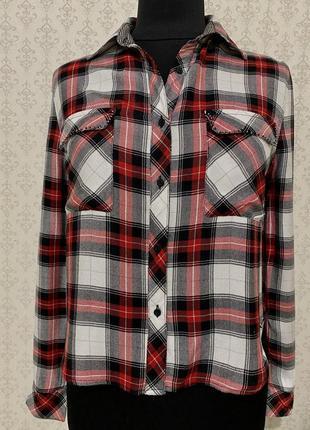 Фирменная блузка рубашка в клетку р с guess
