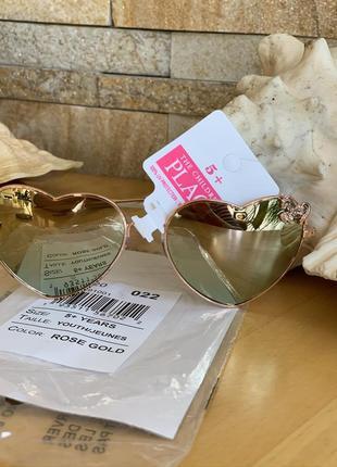Стильные солнцезащитные очки rose gold сердечки для девочки 5-10 лет, childrens place