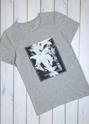 💥1+1=3 красивая серая футболка с принтом kiabi, размер 44 - 46