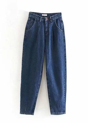 Синие джинсы мом бананы slouchy на высокой посадке