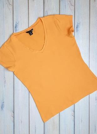 💥1+1=3 фирменная плотная оранжевая футболка h&m хлопок, размер 46 - 48