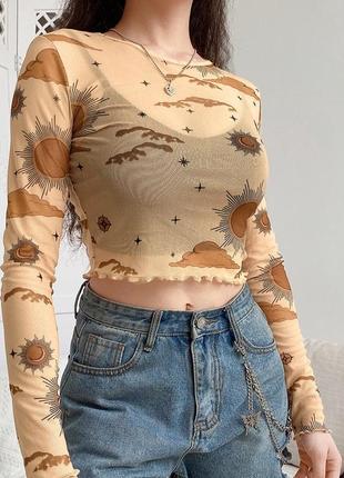 Мештоп в звёздах трендовая прозрачная блуза сетка сетчатая блуза