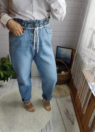 Трендовые джинсы с резинкой на поясе zara baggy