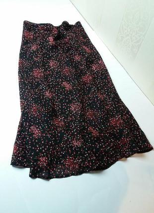 Милая юбка миди в цветочний принт/спідниця міді